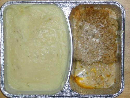 """Schlemmerfilet """"Bordelaise"""" (Fischfilet mit würziger Kräuterauflage) mit Kartoffelpüree"""