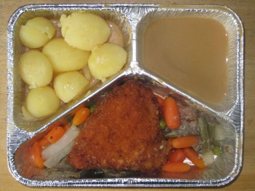 Hähnchenbrustfilet mit Pilzfüllung, auf Buttergemüse, Rahmsoße, Kartoffeln
